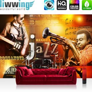 liwwing Vlies Fototapete 416x254cm PREMIUM PLUS Wand Foto Tapete Wand Bild Vliestapete - Sonstiges Tapete Jazz Rock n Roll Musik Noten Blues orange - no. 2330