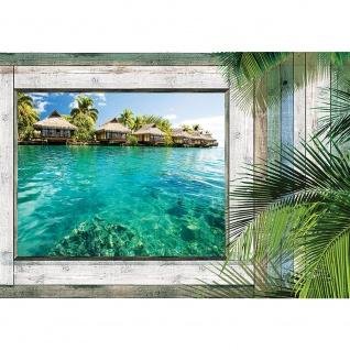 Fototapete Holz Tapete Holzoptik Rahmen Fenster Meer Palmen Wasser grau | no. 2859