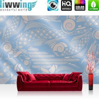 liwwing Vlies Fototapete 400x280 cm PREMIUM PLUS Wand Foto Tapete Wand Bild Vliestapete - Illustrationen Tapete Abstrakt Flügel bunt blau - no. 356