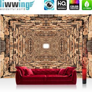 liwwing Vlies Fototapete 208x146cm PREMIUM PLUS Wand Foto Tapete Wand Bild Vliestapete - Steinwand Tapete Steine Mauer Steinmauer Tunnel braun - no. 2519 - Vorschau 1