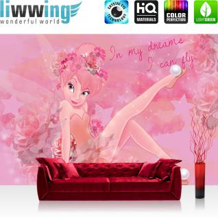 liwwing Vlies Fototapete 416x254cm PREMIUM PLUS Wand Foto Tapete Wand Bild Vliestapete - Disney Tapete Tinker Bell Fee Märchen I Can Fly Peter Pan rosa - no. 3135