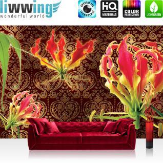 liwwing Vlies Fototapete 312x219cm PREMIUM PLUS Wand Foto Tapete Wand Bild Vliestapete - Blumen Tapete Blume Blüten Blätter Ornamente Orchidee braun - no. 1595