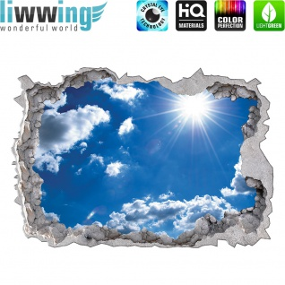 Wandsticker - No. 4776 Wandtattoo Sticker Durchblick Durchbruch Aussicht Wolken Himmes Sonne