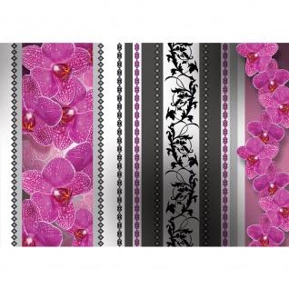 Fototapete Orchideen Tapete Orchidee Blume Ornamente Herzen Streifen Ranke lila   no. 2349