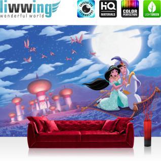 liwwing Vlies Fototapete 104x50.5cm PREMIUM PLUS Wand Foto Tapete Wand Bild Vliestapete - Disney Tapete Aladdin Wunderlampe Cartoon Illustration blau - no. 1860