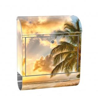 Edelstahl Wandbriefkasten XXL mit Motiv & Zeitungsrolle | Strand Meer Sonnenaufgang Wasser Himmel Sonne | no. 0042