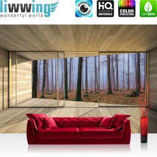 liwwing Fototapete 368x254 cm PREMIUM Wand Foto Tapete Wand Bild Papiertapete - Holz Tapete Holzoptik Rahmen Fenster Wald Bäume Nebel beige - no. 3029