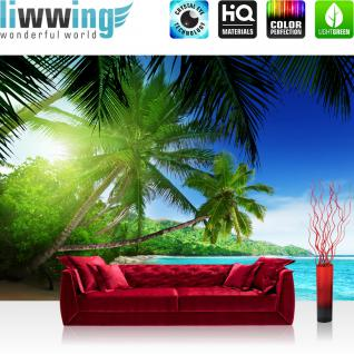 liwwing Vlies Fototapete 350x245 cm PREMIUM PLUS Wand Foto Tapete Wand Bild Vliestapete - PARADISE BEACH - Strand Meer Palmen Beach 3D Ozean Palme - no. 005