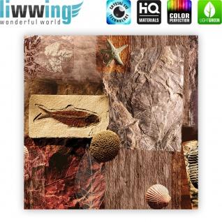 Leinwandbild Muscheln Abstrakt Kunst Eingebungen Braun Meerestiere Blätter | no. 282 - Vorschau 4