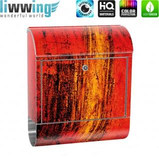 Edelstahl Wandbriefkasten XXL mit Motiv & Zeitungsrolle | abstrakt 3D Rot braun Hintergrund | no. 0103 - Vorschau 2