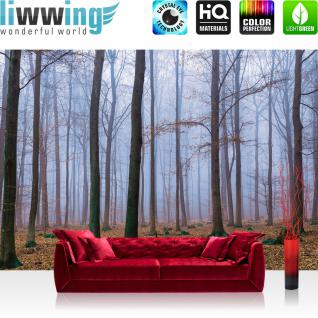 liwwing Vlies Fototapete 400x280 cm PREMIUM PLUS Wand Foto Tapete Wand Bild Vliestapete - Wald Tapete Bäume Laub Herbst Nebel braun - no. 819