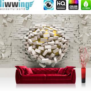 liwwing Vlies Fototapete 152.5x104cm PREMIUM PLUS Wand Foto Tapete Wand Bild Vliestapete - Steinwand Tapete Steinoptik Steine Durchbruch Loch Kugel 3D Optik weiß - no. 2028