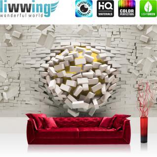 liwwing Vlies Fototapete 416x254cm PREMIUM PLUS Wand Foto Tapete Wand Bild Vliestapete - Steinwand Tapete Steinoptik Steine Durchbruch Loch Kugel 3D Optik weiß - no. 2028