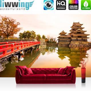 liwwing Vlies Fototapete 350x245 cm PREMIUM PLUS Wand Foto Tapete Wand Bild Vliestapete - Stadt Japan Brücke - no. 263