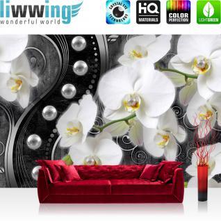 liwwing Vlies Fototapete 152.5x104cm PREMIUM PLUS Wand Foto Tapete Wand Bild Vliestapete - Orchideen Tapete Blume Pflanzen Perlen Illustration Ornamente verspielt anthrazit - no. 2025