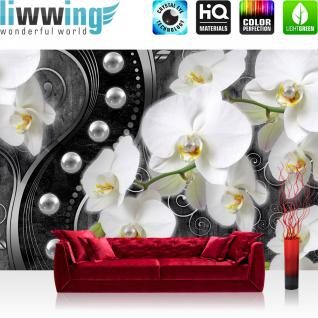 liwwing Vlies Fototapete 416x254cm PREMIUM PLUS Wand Foto Tapete Wand Bild Vliestapete - Orchideen Tapete Blume Pflanzen Perlen Illustration Ornamente verspielt anthrazit - no. 2025