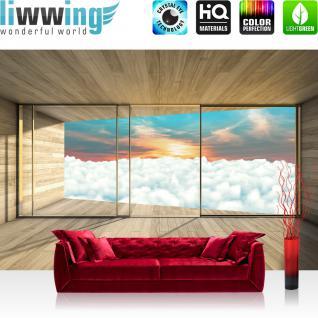 liwwing Vlies Fototapete 416x254cm PREMIUM PLUS Wand Foto Tapete Wand Bild Vliestapete - Holz Tapete Holzoptik Himmel Wolken Fenster Rahmen Sonnenaufgang beige - no. 2156