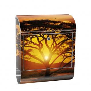 Edelstahl Wandbriefkasten XXL mit Motiv & Zeitungsrolle | Sonnenaufgang Afrika Giraffe Orange Safari | no. 0059