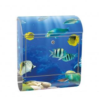 Edelstahl Wandbriefkasten XXL mit Motiv & Zeitungsrolle | Aquarium Unterwasser Meereswelt Meer Fisch Riff | no. 0033