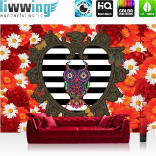 liwwing Fototapete 368x254 cm PREMIUM Wand Foto Tapete Wand Bild Papiertapete - Blumen Tapete Rosen Blüten Herz Eule Streifen Schmetterling rot - no. 1998