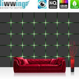 liwwing Fototapete 254x168 cm PREMIUM Wand Foto Tapete Wand Bild Papiertapete - 3D Tapete Kacheln Lichter Kunst Design 3D Optik grün - no. 1360