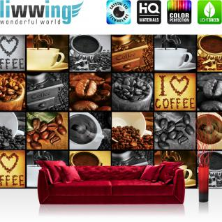 liwwing Vlies Fototapete 312x219cm PREMIUM PLUS Wand Foto Tapete Wand Bild Vliestapete - Kaffee Tapete Coffee Kaffeebohnen Bohnen Herz Tasse braun - no. 2920