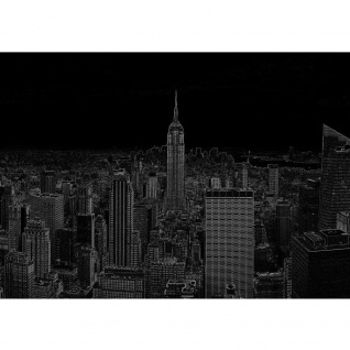 Fototapete New York Tapete Manhattan, Hudson River, Nacht, Empire State Building schwarz - weiß | no. 3457