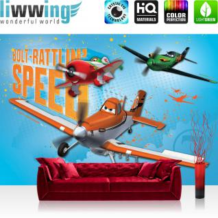 liwwing Vlies Fototapete 350x245 cm PREMIUM PLUS Wand Foto Tapete Wand Bild Vliestapete - Disney Tapete Disney - Planes - Dusty & El Chu Kindertapete Cartoon Flugzeuge Jungen blau - no. 1031