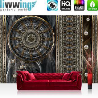 liwwing Fototapete 368x254 cm PREMIUM Wand Foto Tapete Wand Bild Papiertapete - Illustrationen Tapete Abstrakt Kunst Illustration Perlen braun - no. 1268