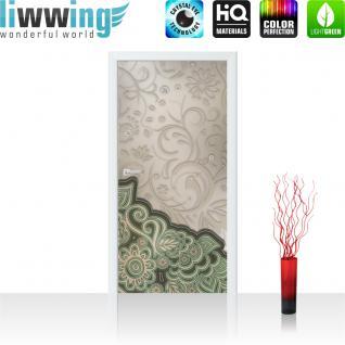 liwwing Vlies Türtapete 91x211 cm PREMIUM PLUS Tür Fototapete Türposter Türpanel Foto Tapete Bild - Ornamente Oriental Blüten Blumen Schürkel - no. 895