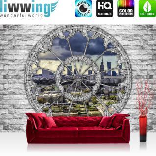 liwwing Fototapete 254x168 cm PREMIUM Wand Foto Tapete Wand Bild Papiertapete - Steinwand Tapete Steinoptik Stein Fenster Skyline Gebäude grau - no. 2328