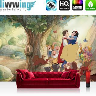 liwwing Vlies Fototapete 312x219cm PREMIUM PLUS Wand Foto Tapete Wand Bild Vliestapete - Disney Tapete Schneewittchen und die 5 Zwerge Märchen Zwerg Cartoon braun - no. 1859