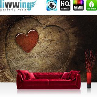 liwwing Vlies Fototapete 300x210 cm PREMIUM PLUS Wand Foto Tapete Wand Bild Vliestapete - Holz Tapete Holz Herz Romantik Liebe Harz braun - no. 332