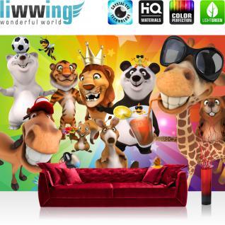liwwing Vlies Fototapete 350x245 cm PREMIUM PLUS Wand Foto Tapete Wand Bild Vliestapete - SAFARI PARTY ANIMALS - Kinderzimmer Kindertapete Zoo Tiere Safari Comic Party Dschungel - no. 088