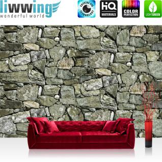 liwwing Fototapete 368x254 cm PREMIUM Wand Foto Tapete Wand Bild Papiertapete - Steinwand Tapete Steinwand Steine Steinoptik anthrazit - no. 615