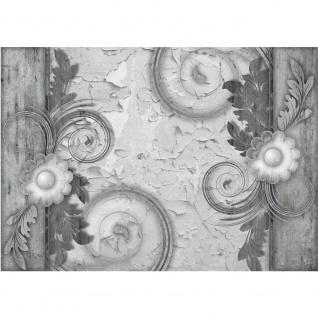 Fototapete Holz Tapete Textur Holzwand Blumen Ornamente schwarz weiß | no. 2626