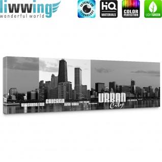 Leinwandbild Chicago New York Las Vegas Skyline Schrift Schwarz-Weiß Wasser   no. 281 - Vorschau 5