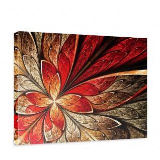 Leinwandbild Yellow and Red Floral Ornament Ornament abstrakt 3D Wand Rot braun | no. 115