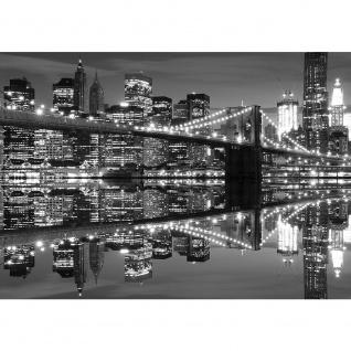 Fototapete Skylines Tapete Skyline Brücke Nachtbild Lichter Spiegelung Fluss grau   no. 1488