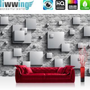 liwwing Vlies Fototapete 104x50.5cm PREMIUM PLUS Wand Foto Tapete Wand Bild Vliestapete - Steinwand Tapete Steinoptik 3D Vierecke Kunst grau - no. 2684