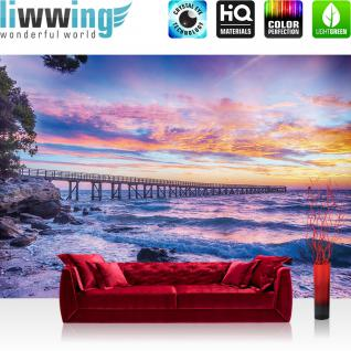 liwwing Vlies Fototapete 312x219cm PREMIUM PLUS Wand Foto Tapete Wand Bild Vliestapete - Meer Tapete Küste Landungssteg Abend Himmel Morgen Wellen natural - no. 3356