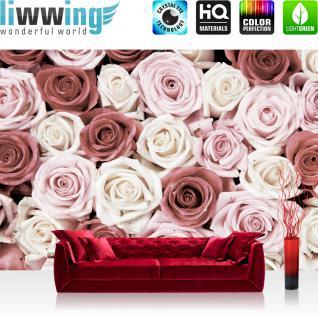 liwwing Vlies Fototapete 208x146cm PREMIUM PLUS Wand Foto Tapete Wand Bild Vliestapete - Blumen Tapete Rosen Blume Blüten Pflanze Liebe rosa - no. 1482