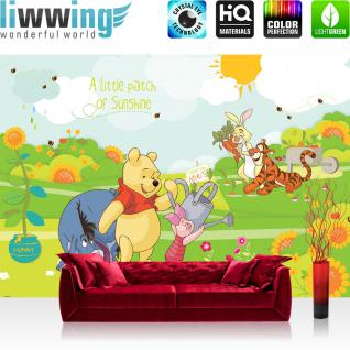 liwwing Fototapete 368x254 cm PREMIUM Wand Foto Tapete Wand Bild Papiertapete - Cartoon Tapete Disney Winnie Puuh Ferkel Tiger IAah Rabbit Sonne Kindertapete bunt - no. 2116
