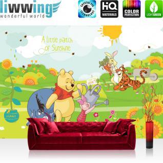 liwwing Vlies Fototapete 104x50.5cm PREMIUM PLUS Wand Foto Tapete Wand Bild Vliestapete - Cartoon Tapete Disney Winnie Puuh Ferkel Tiger IAah Rabbit Sonne Kindertapete bunt - no. 2116