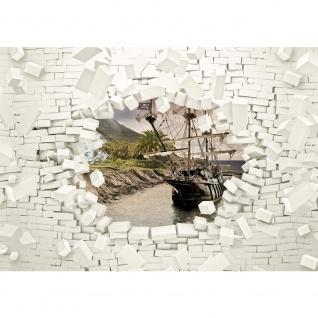 Fototapete Steinwand Tapete Steinoptik Stein 3D Optik Schiff Palme Meer weiß   no. 2014