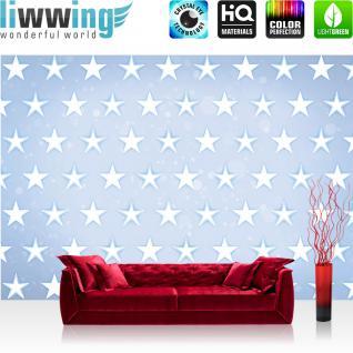 liwwing Fototapete 368x254 cm PREMIUM Wand Foto Tapete Wand Bild Papiertapete - Kunst Tapete Stern Sterne Muster Design Kunst blau - no. 2489