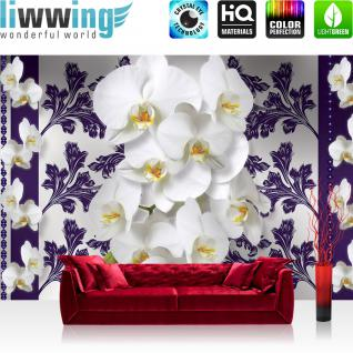 liwwing Vlies Fototapete 312x219cm PREMIUM PLUS Wand Foto Tapete Wand Bild Vliestapete - Meer Tapete Palmen Horizont Wasser Rahmen blau - no. 2505