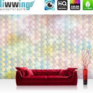 liwwing Vlies Fototapete 350x245 cm PREMIUM PLUS Wand Foto Tapete Wand Bild Vliestapete - Illustrationen Tapete Abstrakt Rechtecke Dreiecke Formen bunt Muster rosa - no. 393
