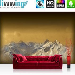 liwwing Vlies Fototapete 104x50.5cm PREMIUM PLUS Wand Foto Tapete Wand Bild Vliestapete - Landschaft Tapete Berge Schnee Himmel gold - no. 1622
