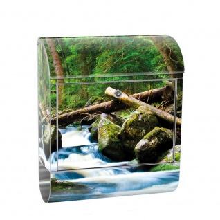 Edelstahl Wandbriefkasten XXL mit Motiv & Zeitungsrolle | Wald Wasserfall Natur Baum grün | no. 0031